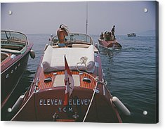 Motorboats In Antibes Acrylic Print by Slim Aarons