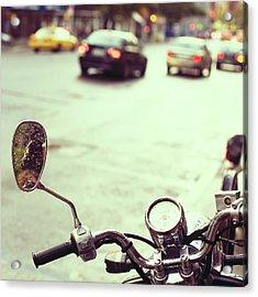 Motorcycle In  Rain Acrylic Print
