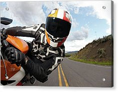 Motorcycle Racer Going Fast Acrylic Print