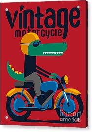 Motorcycle, Rider, Crocodile Vector Acrylic Print