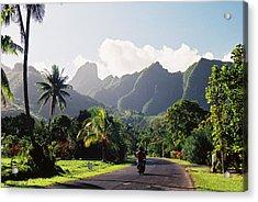 Motorcyclist On Polynesian Road Acrylic Print by Ejs9