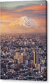 Mount Fuji And Japan Cityscape In Acrylic Print