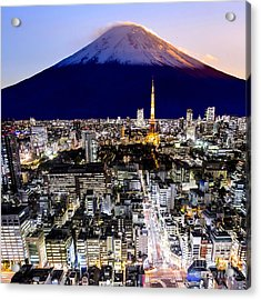 Mount Fuji And Tokyo City In Twilight Acrylic Print