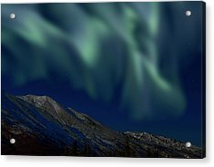 Mountain & Northern Lights Acrylic Print by Mark Newman