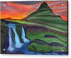 Mountain And Waterfall In The Rays Of The Setting Sun Acrylic Print