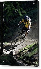 Mountain Biker On Dirt Path Acrylic Print