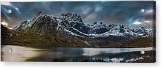 Mountain Lake In Norway On Lofoten Near Nusfjord Acrylic Print