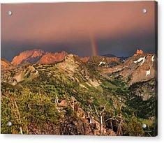 Mountain Light And Rainbow In The Tetons Acrylic Print by Leland D Howard