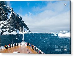 Mountains And Cruise Ship In Antarctica Acrylic Print