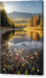 Acrylic Print featuring the photograph Mountains Of Gold / Mcdonald Creek, West Glacier  by Nicholas Parker