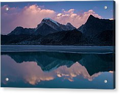 Mountains Reflected In Still Rural Lake Acrylic Print by Cultura Exclusive/ben Pipe Photography