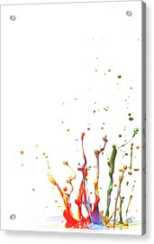 Multicolor Paint Splash Against A White Acrylic Print by Banksphotos