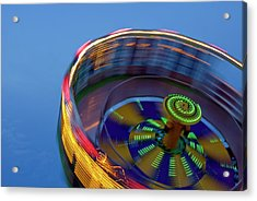 Multicolored Spinning Carnival Ride Acrylic Print by By Ken Ilio
