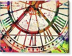 Musee D'orsay Clock Colorful Watercolor Acrylic Print