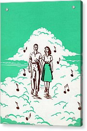 Musical Couple In The Clouds Acrylic Print by Graphicaartis