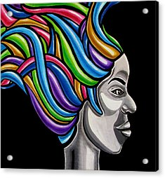 Colorful 3d Abstract Painting, Black Woman, Colorful Hair Art Artwork - African Goddess Acrylic Print
