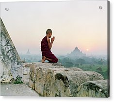 Myanmar, Bagan, Buddhist Monk Praying Acrylic Print by Martin Puddy