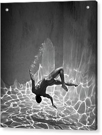 Naked Man Underwater Acrylic Print by Ed Freeman