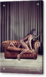 Naked Man With Mask On A Sofa Acrylic Print