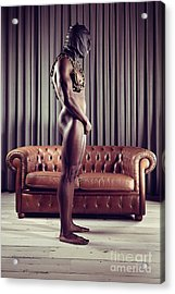 Naked Man With Mask Standing In Front Of A Sofa Acrylic Print