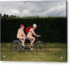 Naked Mature Couple Riding Tandem Acrylic Print