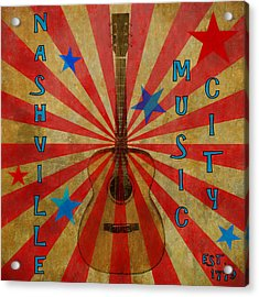 Nashville Music City Retro Acrylic Print