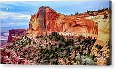 Neighboring Mesa Arch - Photopainting Acrylic Print by Bob Lentz