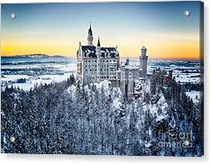 Neuschwanstein Castle At Sunset In Acrylic Print by Frank Fischbach