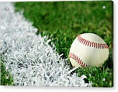 New Baseball Along Foul Line Acrylic Print by Cmannphoto