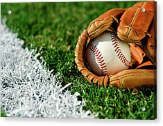 New Baseball In Glove Along Foul Line Acrylic Print by Cmannphoto