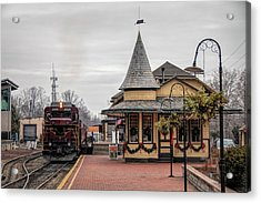 New Hope Train Station At Christmas Acrylic Print