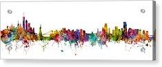 New York And Miami Skylines Mashup Acrylic Print