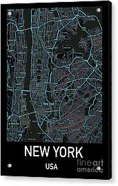 New York City Map Black Edition Acrylic Print