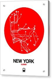 New York Red Subway Map Acrylic Print