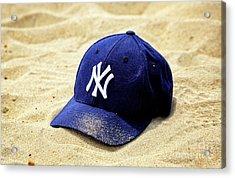 New York Yankees Beach Cap Acrylic Print by John Rizzuto