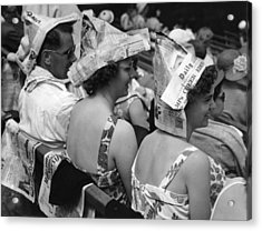 Newspaper Hats Acrylic Print by Fox Photos