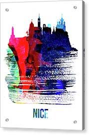Nice Skyline Brush Stroke Watercolor   Acrylic Print