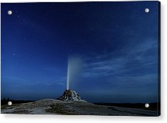 Night Eruption, White Cone Geyser Acrylic Print