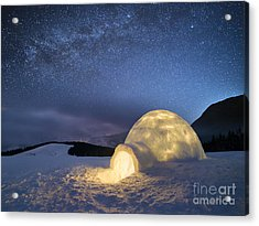 Night Landscape With A Snow Igloo With Acrylic Print