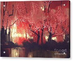 Night Scene Of Autumn Forest,fantasy Acrylic Print