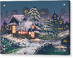 Night Scene Of Wooden Houses With Acrylic Print