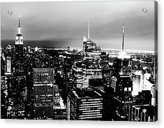 Night View Of New York Acrylic Print by Night View Of New York City From Rockefeller Center