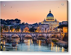 Night View Of The Basilica St Peter In Acrylic Print