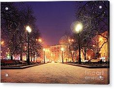 Night Winter Landscape In Amazing City Acrylic Print
