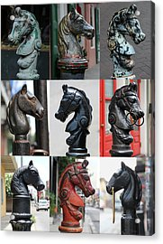 Nine Horse Head Hitching Posts Acrylic Print