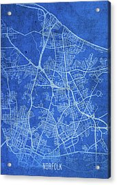 Norfolk Virginia City Street Map Blueprints Acrylic Print