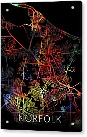 Norfolk Virginia City Watercolor Street Map Dark Mode Acrylic Print