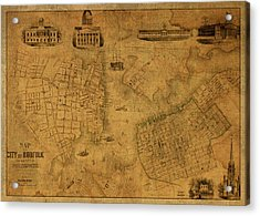Norfolk Virginia Vintage City Street Map 1851 Acrylic Print