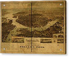 Norfolk Virginia Vintage City Street Map 1892 Acrylic Print