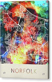 Norfolk Virginia Watercolor City Street Map Acrylic Print